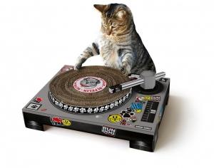 grattoir pour chat en forme de platine DJ