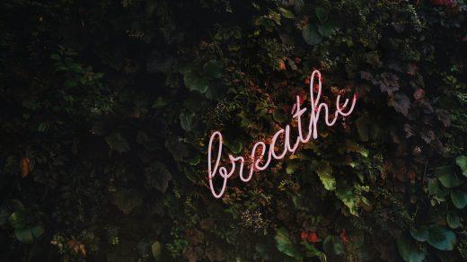 """Néon """"breathe"""" sur mur végétal"""